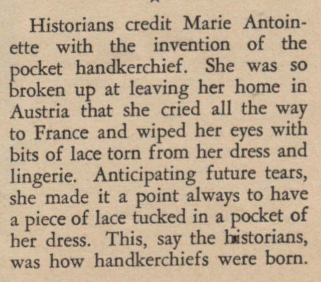 History of the handkerchief credited to Marie Antoinette.