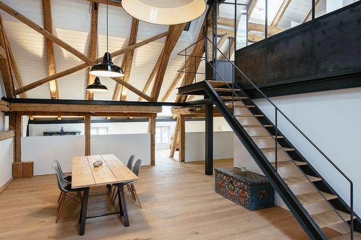 escalier droit palier haut 2-limons-acier-marches-bois