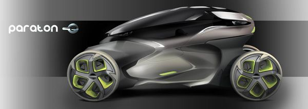 The Paraton-e concept merges motorcycle maneuverability with compact car practicality into a transformable urban commuter for the sensible thrill-seeker. Designer: Frederik Dallmeyer | Yanko Design