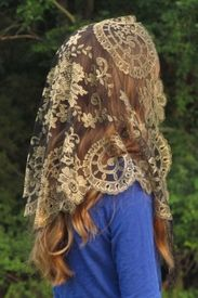 Authentic Spanish Medallion Mantilla Chapel Veil in Black and Gold (Metallic)