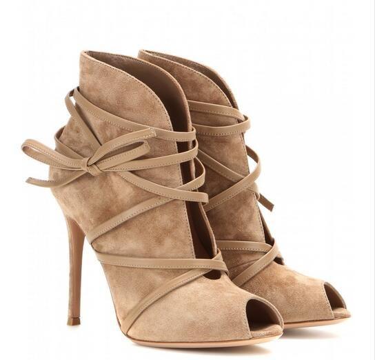 Горячий Продавать Осень Женщины Замши Лодыжки Меховые Сапоги Peep Toe женская Обувь Зашнуровать Ботинки Высокой Пятки Шпильках Пятки Короткие Сапоги