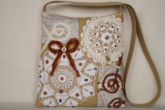 Beige white star crocheted lace bag medium size bag by bokrisztina