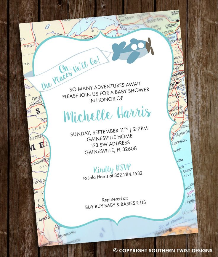 boy baby shower invitations australia%0A Travel Baby Shower Invitation  Map Invitation  Plane  u     Banner Invitation  Oh  the Places He u    ll Go  Baby Shower  Adventures Await Shower