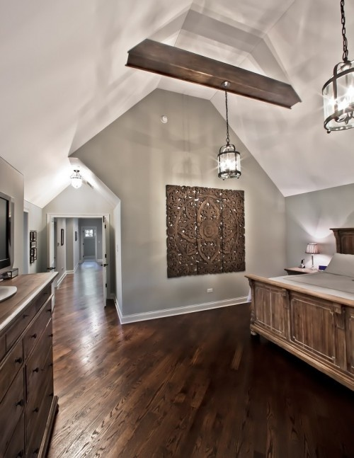 oooh - one of my favorite things I've seen on Pinterest - (floors, paint, beams, lighting) would look good in a kitchen too