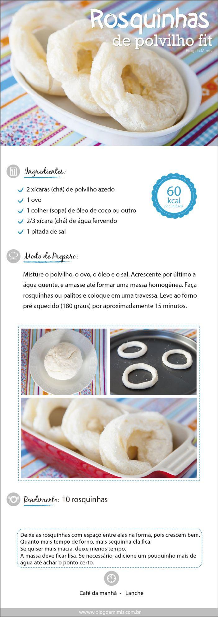Receita de Rosquinhas de polvilho  do Blog da Mimis - São deliciosas e saudáveis! Sem glúten e pouco calóricas!