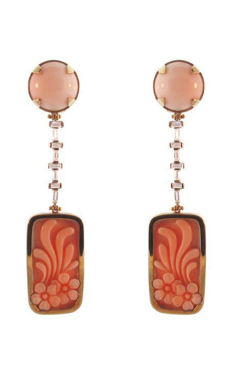Silvia Furmanovich Peau D'ange Coral and Baguette Diamond Earrings