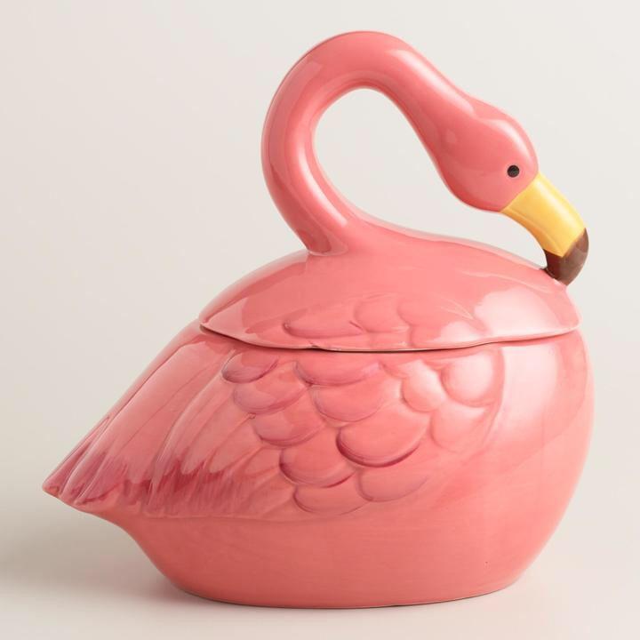 Ceramic Flamingo Cookie Jar