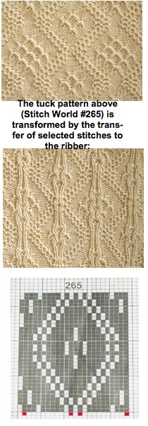 I MUST try this method of transferring selected stitches to the ribber while knitting a tuck pattern. Method as shown on Carl Boyd's blog.