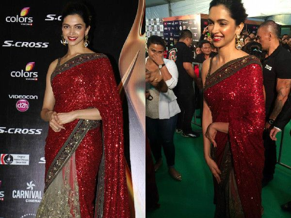 #DeepikaPadukone wore a Sabyasachi saree at the IIFA 2015 green carpet and she looked stunning in her traditional attire.