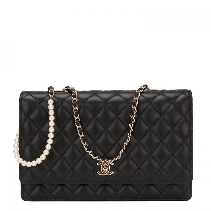 Chanel Black Lambskin Fantasy Pearls Large Evening Flap Bag Image 1