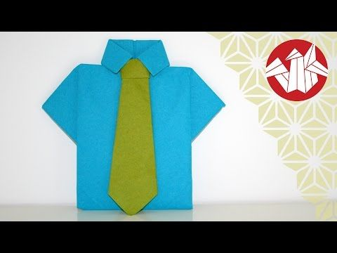 Tuto Origami - Chemise et cravate en serviette [Senbazuru] - YouTube