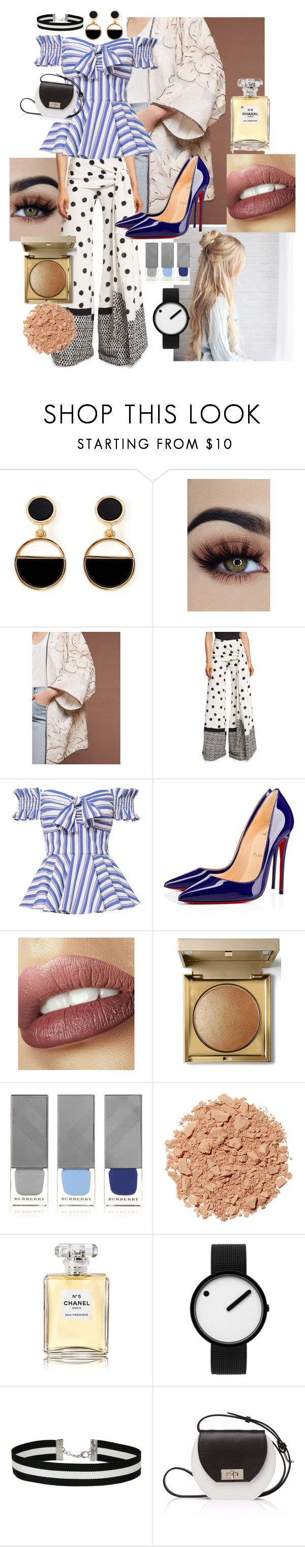 """STRIPES, POLKA DOTS, FLORALS"" by ashleyleannepelham ❤ liked on Polyvore featuring Warehouse, AS by DF, Oscar de la Renta, Caroline Constas, Christian Louboutin, Stila, Burberry, Illamasqua, Chanel and Rosendahl"