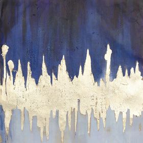 Picture of Blue/Gold Abstract Hand-Painted Wall Art- 30 x 30-in