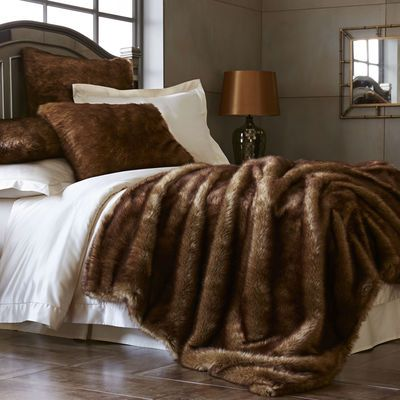 "Most of us need little encouragement to ""think mink,"" but for those who do, consider our faux mink. It offers the touch of the real thing in faux-friendly acrylic and polyester. With an ombre-tinted cut to emphasize depth, these blankets and shams are plush softness you'll fall in love with."