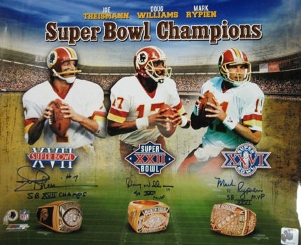 Washington Redskins Super Bowl Champion QBs; Joe Theismann, Mark Rypien, Doug Williams. by halloffamememorabilia.com