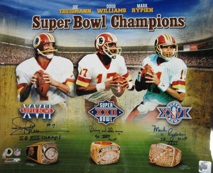 Washington Redskins Super Bowl Champion QBs; Joe Theismann, Mark Rypien, Doug Williams. by halloffamememorabilia.com