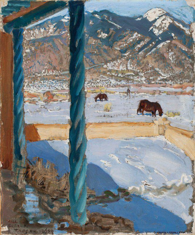 AKSELI GALLEN-KALLELA Taos Home in Sunlight (1925)