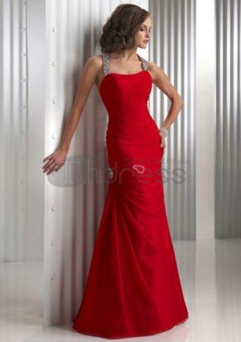 Hot Sell Mermaid Halter Floor-Length Chiffon Charmeuse Evening Dresses 2012