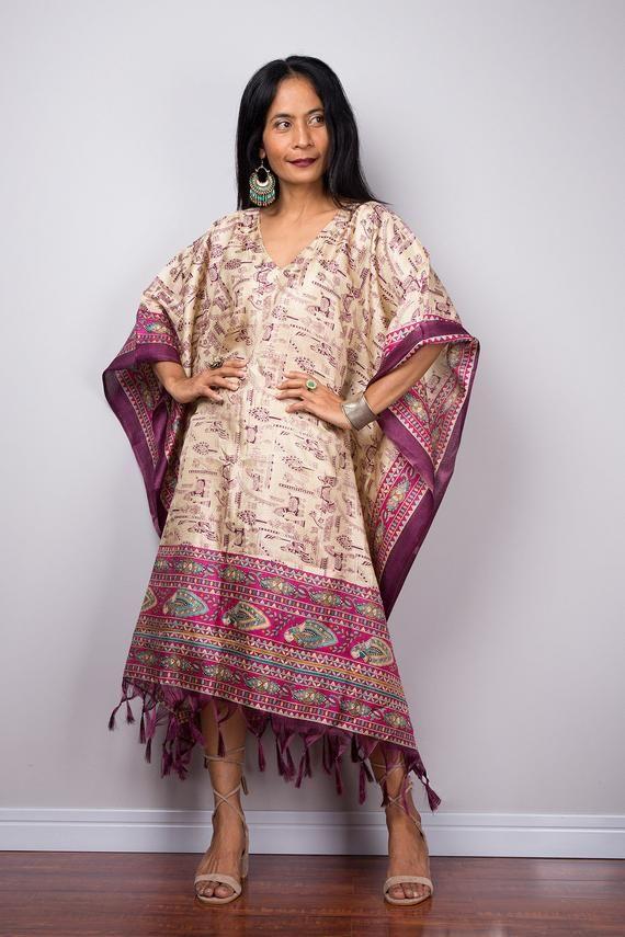 462aa699498 Boho Caftan, Women's Tunic, Short kaftan, Summer tunic, Loose fit dress,  Beach wear, Midi kaftan