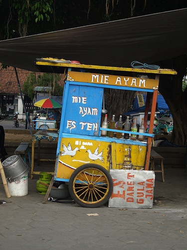 "Indonesia is a food paradise, with mouthwatering dishes from roadside food stalls to tourist hotels. Photo: a Java ""mie ayam"" food stall. It's yellow wheat noodle (mie) topped with diced chicken meat (ayam), seasoned with soy sauce, and usually served with a chicken broth soup."