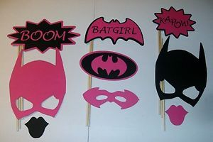 DIY- 9 Photo Booth Props Batgirl Boom Pink and Black (2101D)
