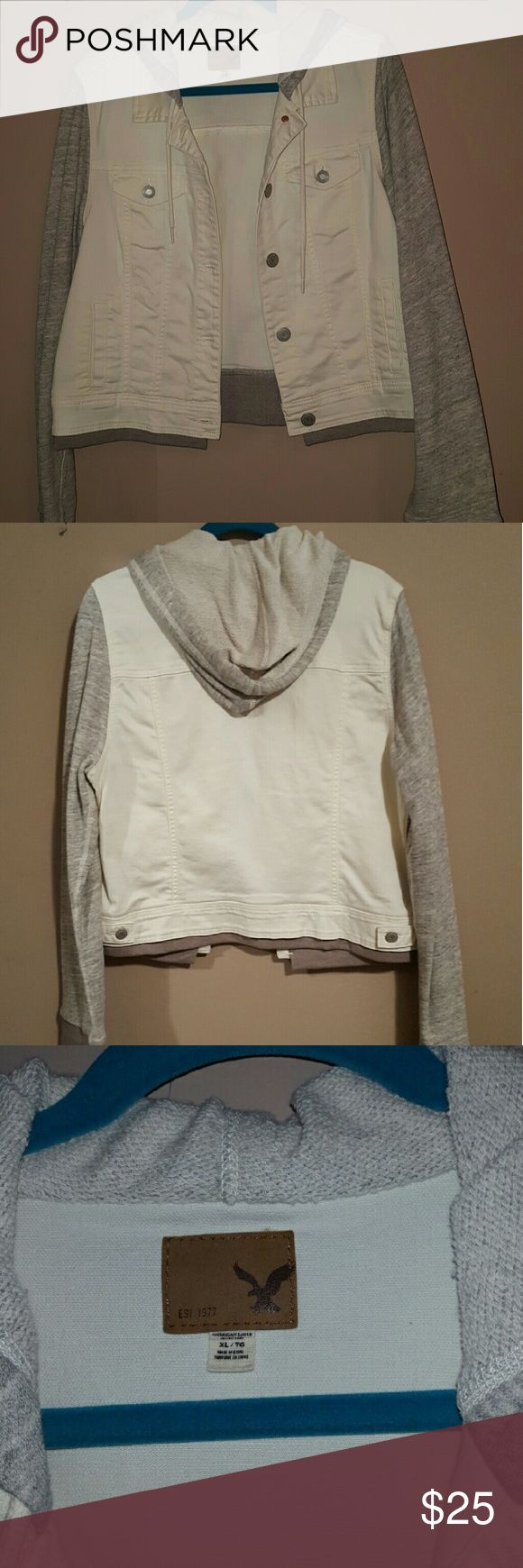American Eagle jean jacket White jean jacket with heather grey sleeves & hood. Size XL. No stains/discoloration, only wore a handful of times. Very comfortable & cozy! American Eagle Outfitters Jackets & Coats Jean Jackets