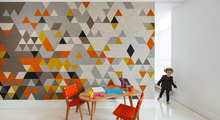 CNC cut Design Felt creates graphic acoustic absorption in the children's bedroom of this modern residence in the South End of Boston. #filzfelt #woolfelt