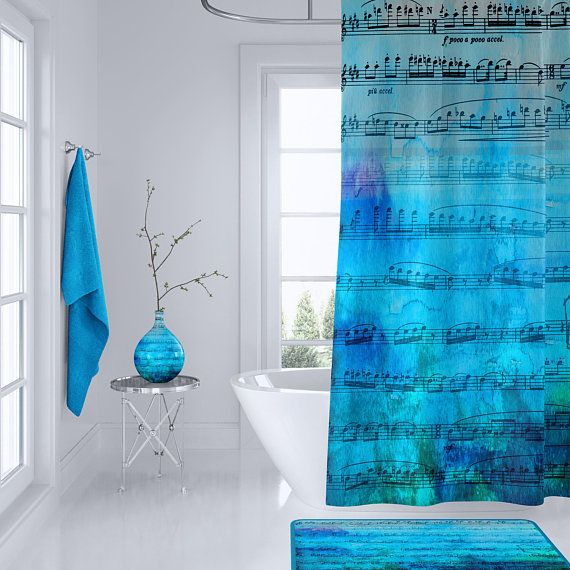 Watercolor Music Shower Curtain Blue Mood Music Unique Blue