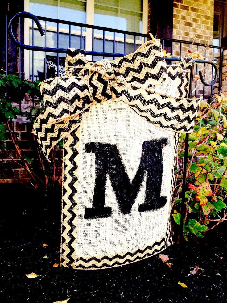 Burlap Monogram Garden Flag by YellowPupDesign on Etsy, $15.00