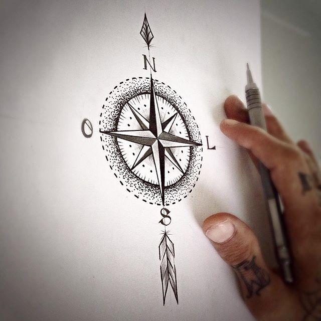 Desenho pra Tattoo! Flecha mais Rosa dos ventos! #draw #desenho #sketch #rascunho #art #arte #ink ...