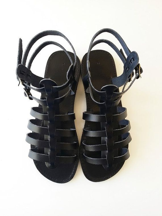 Black Leather Gladiator Sandals Men Leather Greek por Leatherhood