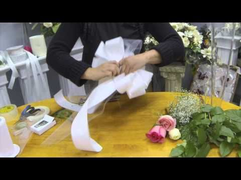 How to Make Pew Bows with Tulle,Ribbon and Fresh Flowers - YouTube