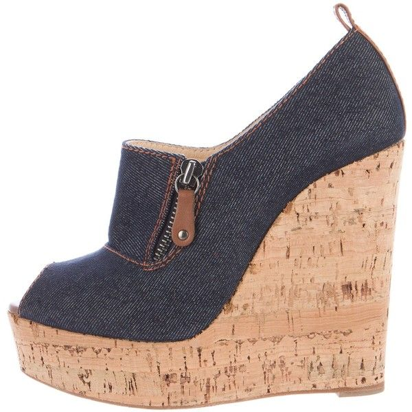 Pre-owned Christian Louboutin Denim Wedge Pumps ($225) ❤ liked on Polyvore featuring shoes, pumps, blue, peep toe wedge shoes, peep toe pumps, platform wedge shoes, brown wedge pumps and brown pumps