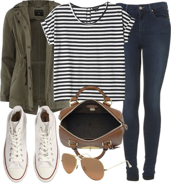 White high-top converse, aviator sunglasses, tan bag, medium washed jeggings, black and white stripped tee, hunter green jacket. Get inspired from the creator of Sex and the City.  Discover full episodes at http://www.tvland.com/shows/younger.