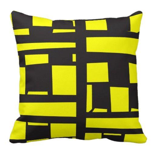 Almohada Cojín Cubos Amarillo y Negro