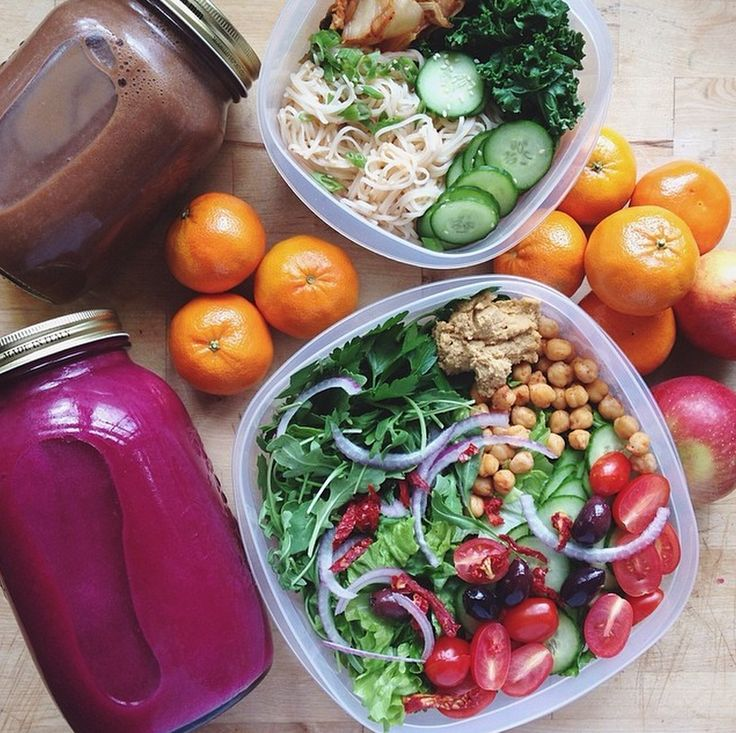 the-urban-vegan:  The perfect packed lunch:A delicious raw salad, filled with tomatoes, chickpeas, rocket, olives, cucumbers and hummus. Above is Kale and noodles and onion.Photo cred to Essena O'neill  Fitness and health blog!