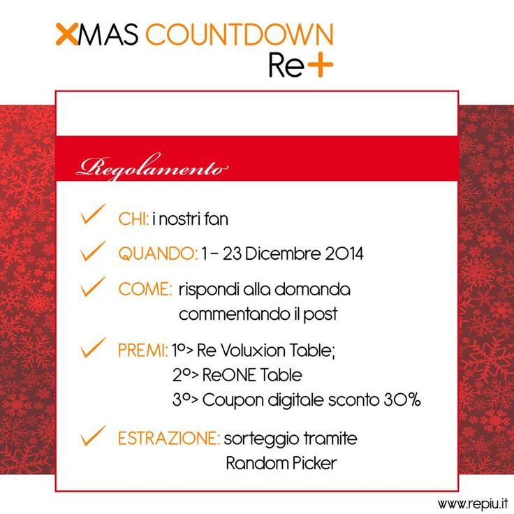 Ecco il regolamento del nostro quiz XMAS COUNTDOWN RE+! www.repiu.it