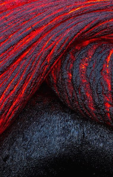 Pahoehoe is a bit hotter, forms lava tubes with many units, thin with lower viscosity & thickness so faster. Both slow down speed as they cool.