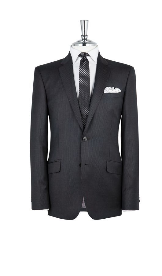 Muswell Charcoal Stripe 2-Button Slim Fit Suit | T.M.Lewin