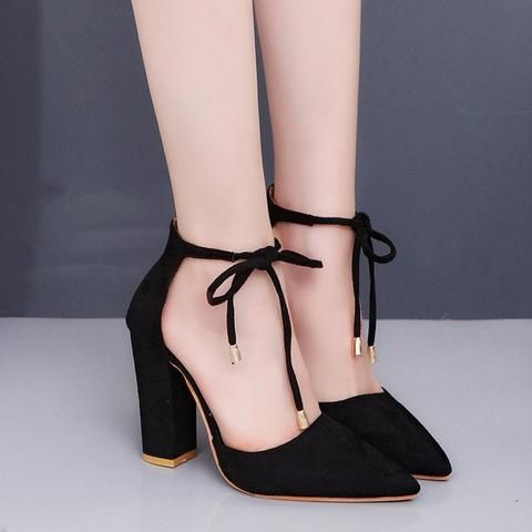 Image of CPI 2018 New 6 Colors Pointed Strappy Pumps Sexy Retro High Thick Heels…