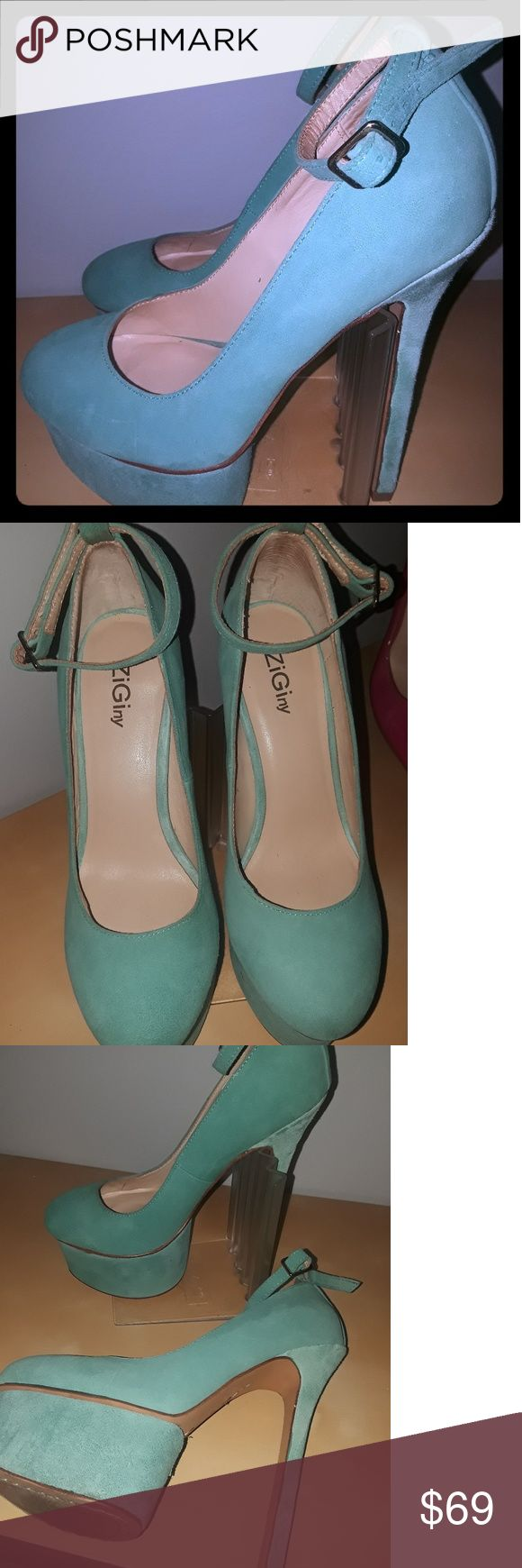 Ziginy Mint Green Heels-Size 6 O.M.G.. Can I say it?? You want some banger heels??? Here they are! I really dont want to let these Charlotte Olympia dupes but I can't do heels anymore .. These shoes are Gorgeous!!!  Genuine leather upper..  Someone please buy them, rock them and let me know how it goes!! You will get a bunch of compliments, I promise...   Heel height is 6 inches so these arent for the faint hearted..   Thanks for looking and happy shopping and please check out my closet for