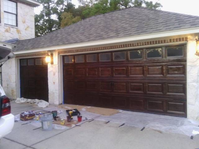 17 best images about garage door wood faux on pinterest for Faux wood grain garage door painting