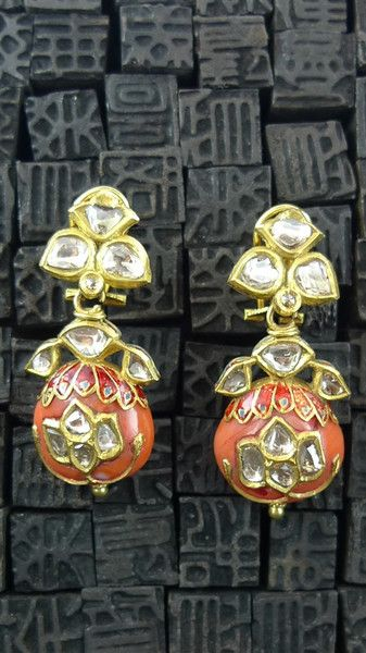 Amrapali Diamond and Coral Drop Earrings in 22K Yellow Gold