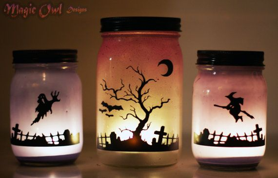 Halloween Mason Jar Lantern Set Original by MagicOwlDesigns