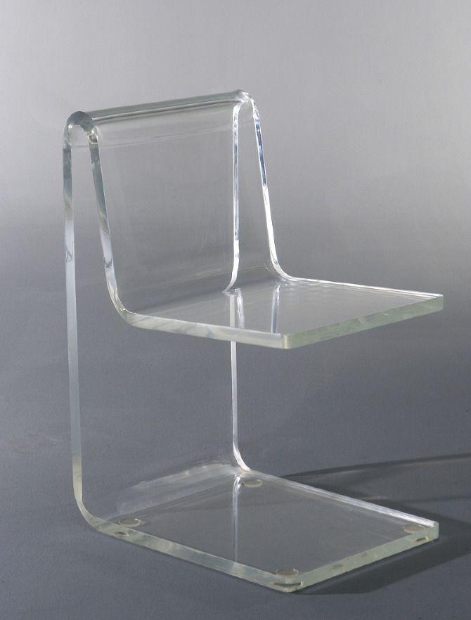 Jean Dudon; Plexiglass Side Chair, 1968.