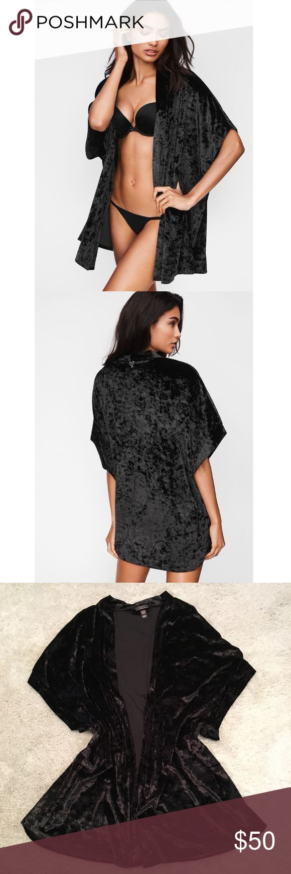 NWOT Victoria's Secret Crushed Velvet Kimono Soft crushed velvet kimono with an iconic embroidered  Angel graphic in black. Color is black. Size M/L. 90% polyester 10% elastane. Comes in original packaging. Can be worn as lounge wear or dressed up for casual wear out and about! Victoria's Secret Intimates & Sleepwear