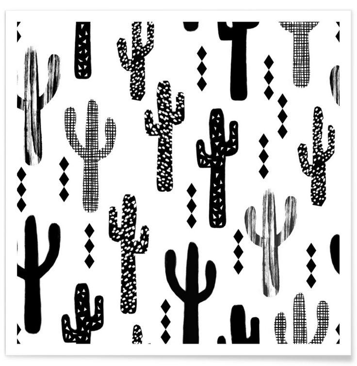 Cactus Black en Affiche premium par Charlotte Winter | JUNIQE