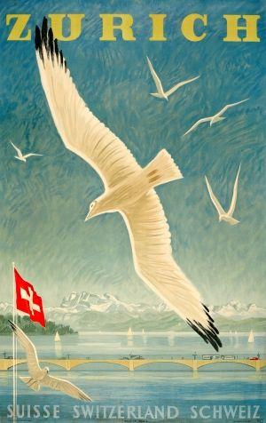 Zurich Switzerland, 1949 - original vintage poster by Alex Walter Diggelmann listed on AntikBar.co.uk