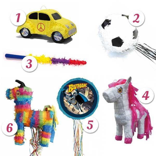 Pinatas FESTI   1 : Pinata voiture hippie 2 : Pinata Ballon de Foot 3 : Bâton à Pinata 4 : Pinata poney 5 : Pinata Batman D 50 cm 6 : Pinata Ane
