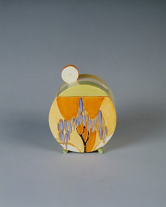 """""""Bizarre"""" Jam Pot with Cover, 1929-1939, earthenware, Clarice Cliff"""